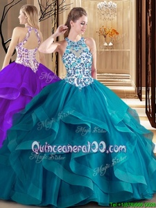 Best Scoop Ball Gowns Sleeveless Teal Quince Ball Gowns Brush Train Lace Up