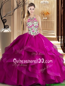 Customized Fuchsia Scoop Neckline Embroidery and Ruffles Quinceanera Dresses Sleeveless Zipper
