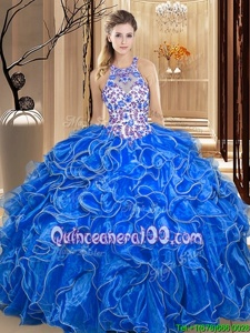 Vintage Scoop Sleeveless Organza Quince Ball Gowns Embroidery and Ruffles Backless