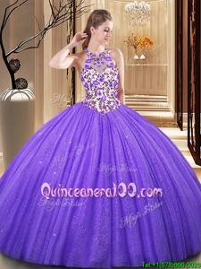 Captivating Scoop Sequins Lavender Sleeveless Tulle Backless Quinceanera Gowns forMilitary Ball and Sweet 16 and Quinceanera