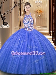 Suitable High-neck Sleeveless Quinceanera Gowns Floor Length Lace and Appliques Blue Organza