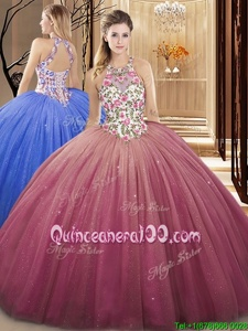 Popular Watermelon Red Ball Gowns High-neck Sleeveless Tulle Floor Length Lace Up Lace and Appliques Sweet 16 Dresses