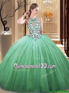 Fitting Floor Length Lace Up 15th Birthday Dress Green and In forMilitary Ball and Sweet 16 and Quinceanera withLace and Appliques