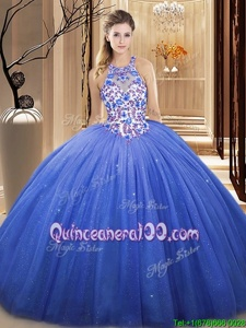On Sale V-neck Sleeveless Tulle 15th Birthday Dress Lace and Appliques Lace Up