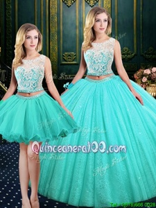Vintage Three Piece Scoop Sleeveless Tulle and Sequined Quince Ball Gowns Lace and Sequins Lace Up