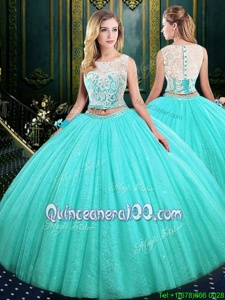 Cheap Scoop Lace and Sequins Quinceanera Gown Blue Lace Up Sleeveless Floor Length