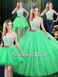 Noble Four Piece Scoop Spring Green Sleeveless Lace and Sequins Floor Length Quinceanera Gowns