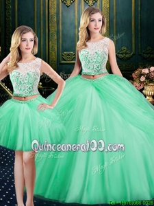 Superior Three Piece Scoop Sleeveless Satin and Tulle Floor Length Lace Up Quinceanera Dresses inApple Green forSpring and Summer and Fall and Winter withLace and Pick Ups