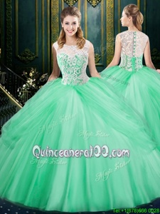 Delicate Scoop Pick Ups Floor Length Ball Gowns Sleeveless Apple Green Sweet 16 Dress Zipper