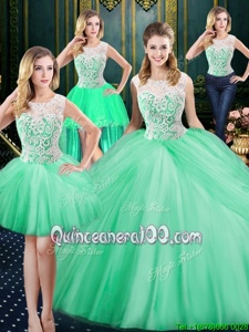 Smart Four Piece Apple Green Zipper Scoop Lace and Pick Ups Ball Gown Prom Dress Tulle Sleeveless