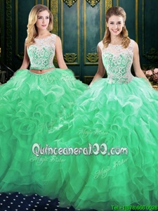 Fashion Scoop Green Ball Gowns Lace and Ruffles Sweet 16 Quinceanera Dress Lace Up Organza Sleeveless