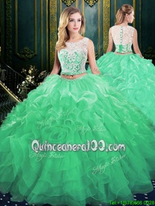 Super Scoop Sleeveless Organza Ball Gown Prom Dress Lace and Appliques and Ruffles Court Train Zipper