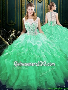 Green Quince Ball Gowns Scoop Sleeveless Brush Train Zipper