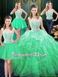 Sophisticated Four Piece Green Organza Zipper Scoop Sleeveless Floor Length Ball Gown Prom Dress Lace and Ruffles