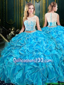 Artistic Two Pieces Vestidos de Quinceanera Baby Blue Scoop Organza Sleeveless Floor Length Zipper