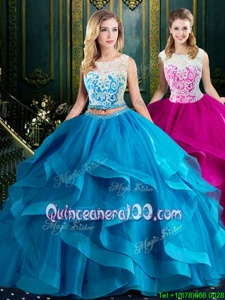 Scoop Sleeveless Quinceanera Gown With Brush Train Lace and Ruffles Baby Blue Tulle