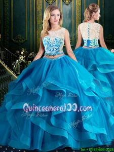Unique Scoop With Train Zipper 15 Quinceanera Dress Baby Blue and In forMilitary Ball and Sweet 16 and Quinceanera withLace and Ruffles Brush Train
