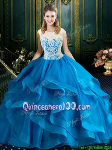 Graceful Baby Blue Tulle Zipper Scoop Sleeveless With Train Sweet 16 Dresses Brush Train Lace