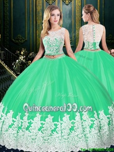 Customized Scoop Apple Green Sleeveless Tulle Zipper Quinceanera Gown forMilitary Ball and Sweet 16 and Quinceanera