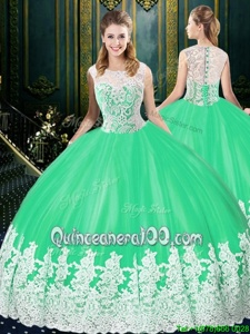 Pretty Apple Green Sweet 16 Quinceanera Dress Military Ball and Sweet 16 and Quinceanera and For withLace and Appliques Scoop Sleeveless Zipper