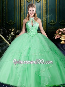 Elegant Floor Length Apple Green Sweet 16 Dress Halter Top Sleeveless Lace Up