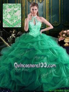 Halter Top Green Sleeveless Beading and Ruffles and Pick Ups Floor Length Quinceanera Dresses