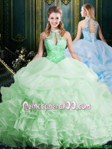 Elegant Halter Top Sleeveless Vestidos de Quinceanera Brush Train Beading and Lace and Appliques and Ruffles and Pick Ups Spring Green Organza