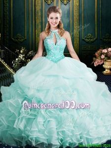 Classical Halter Top Apple Green Sleeveless Beading and Lace and Ruffles Clasp Handle Quinceanera Gown