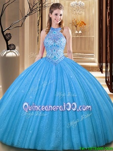 Baby Blue Backless High-neck Embroidery Quinceanera Dress Tulle Sleeveless