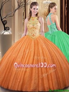 Eye-catching Orange Backless Vestidos de Quinceanera Embroidery and Hand Made Flower Sleeveless Floor Length