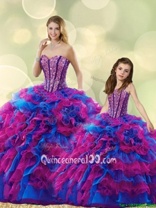 Luxury Multi-color Lace Up Sweetheart Beading and Ruffles Sweet 16 Dresses Organza Sleeveless