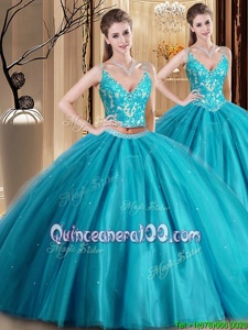 Popular Teal Two Pieces Tulle Spaghetti Straps Sleeveless Beading and Lace and Appliques Floor Length Lace Up Quinceanera Dress