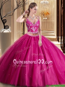 Low Price Hot Pink Spaghetti Straps Neckline Beading and Appliques Quinceanera Dress Sleeveless Lace Up
