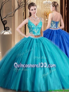 Dazzling Floor Length Teal Quinceanera Gown Spaghetti Straps Sleeveless Lace Up