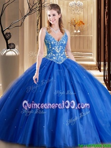 Dramatic Blue Ball Gowns Tulle Spaghetti Straps Sleeveless Beading and Appliques Floor Length Lace Up Quinceanera Dress