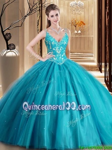 High End Teal Ball Gowns Spaghetti Straps Sleeveless Tulle Floor Length Lace Up Beading and Lace and Appliques Quince Ball Gowns