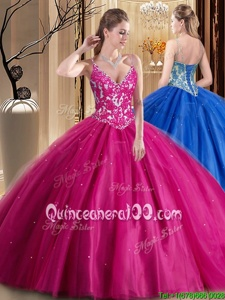Fashion Hot Pink Ball Gowns Tulle Spaghetti Straps Sleeveless Beading and Appliques Floor Length Lace Up Vestidos de Quinceanera
