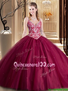 Deluxe Sleeveless Floor Length Beading and Lace and Appliques Lace Up 15 Quinceanera Dress with Burgundy