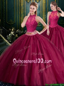 Sweet Burgundy Ball Gown Prom Dress Military Ball and Sweet 16 and Quinceanera and For withBeading and Lace High-neck Sleeveless Lace Up