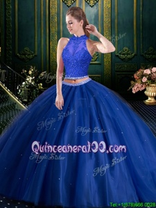 Modest Sleeveless Lace Up Floor Length Beading and Lace and Appliques Quinceanera Dresses