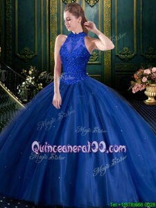 Glamorous Floor Length Navy Blue Quinceanera Dress Tulle Sleeveless Spring and Summer and Fall and Winter Appliques