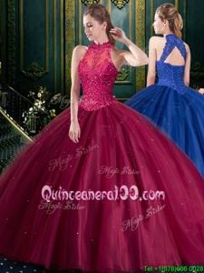 Dynamic Burgundy High-neck Neckline Appliques Quinceanera Gowns Sleeveless Lace Up