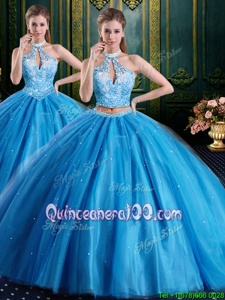 Artistic Beading and Appliques 15th Birthday Dress Baby Blue Lace Up Sleeveless Floor Length