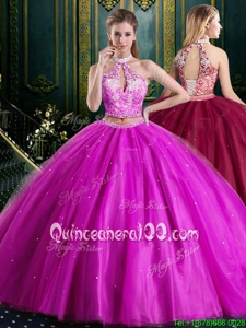 Suitable Tulle Halter Top Sleeveless Lace Up Beading and Lace and Appliques Sweet 16 Quinceanera Dress inFuchsia