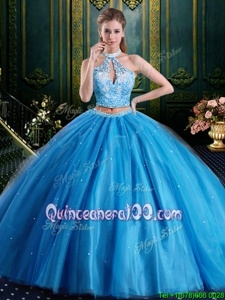 Tulle Halter Top Sleeveless Lace Up Beading and Lace and Appliques Quinceanera Dress inBaby Blue