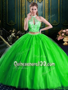 Customized Halter Top Floor Length Spring Green Sweet 16 Dresses Tulle Sleeveless Spring and Summer and Fall and Winter Beading and Lace and Appliques