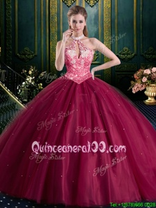 Adorable Floor Length Burgundy Ball Gown Prom Dress Halter Top Sleeveless Lace Up