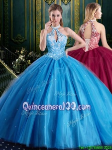 Modern Halter Top Beading and Lace and Appliques Quinceanera Gown Baby Blue Lace Up Sleeveless Floor Length