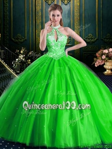 Discount Spring Green Lace Up Halter Top Beading Vestidos de Quinceanera Tulle Sleeveless