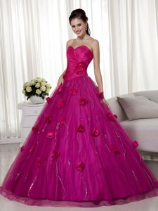 Fuchsia Ruched Beading Quinceanera Dresses with 3D Flowers